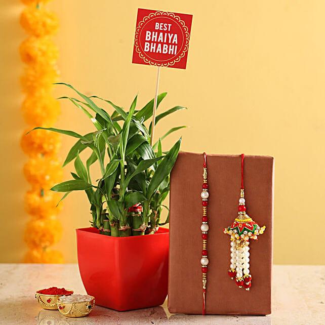 Online 2 Layer Bamboo Pot With Bhaiya Bhabhi Rakhi:Set of 2 Rakhis