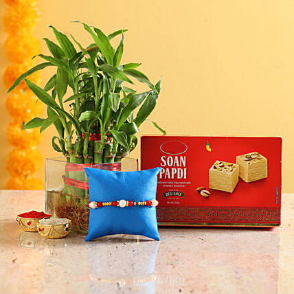 Online Pearl Rakhi And Sweets With 2 layer Bamboo