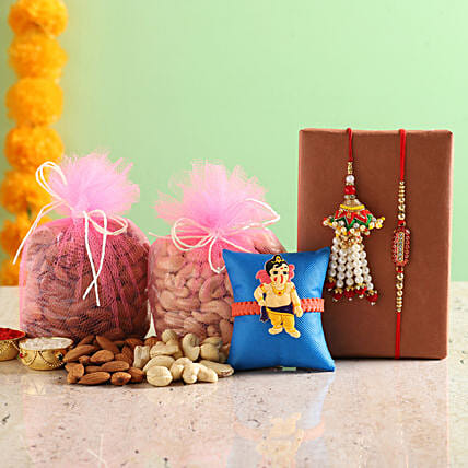 best rakhi set with dry fruits combo online