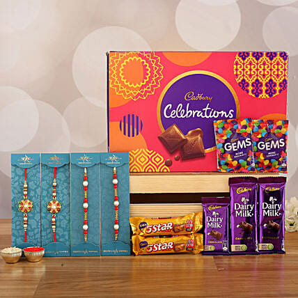 best designer rakhi set with chocolate combo online