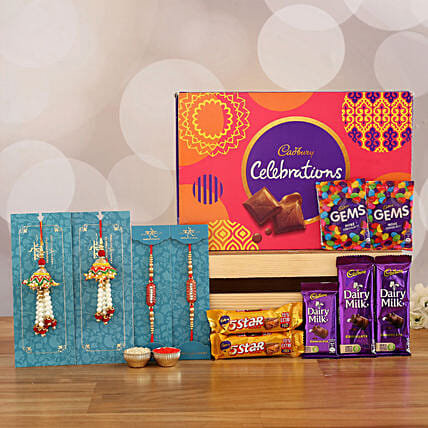 set of 4 rakhi with cadbury celebration box online