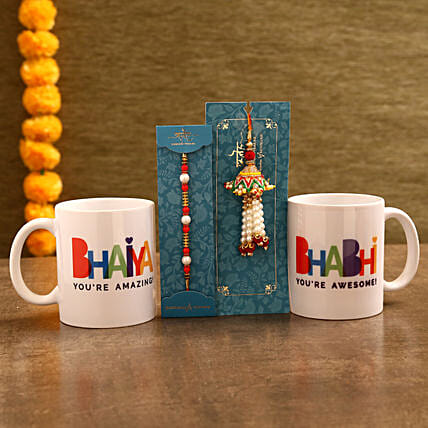 Mug and Lumba Rakhi Combo for Bhaiya Bhabhi:Same Day Rakhi Delivery in India