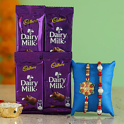 stylish designer rakhi with cadbury for elder brother
