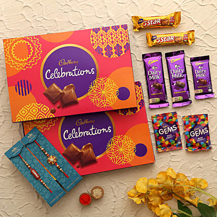 online trendy rakhi with chocolates for brother