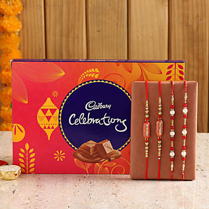 set of designer rakhi with sweet chocolates online:Rakhi