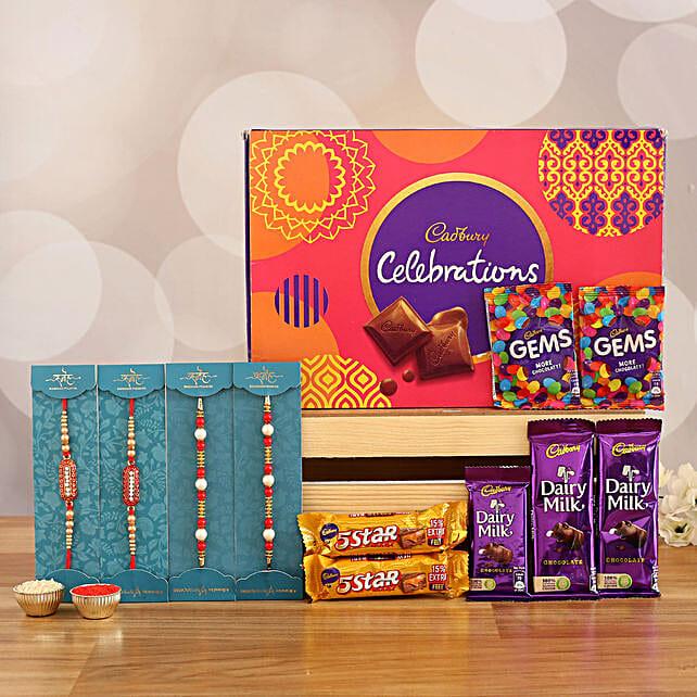 set of designer rakhi with sweet chocolates online:Pearl Rakhi