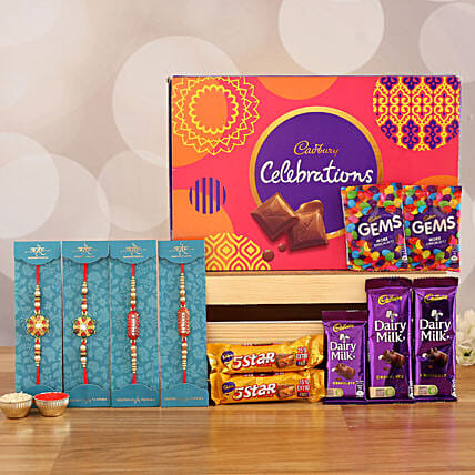 set of 4 rakhi with sweet chocolate surprise