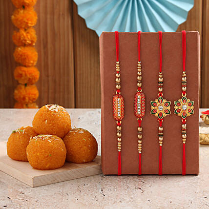 ethnic rakhi with motichoor laddu online
