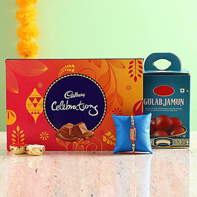 Rakhi with Chocolate and Sweets Combo