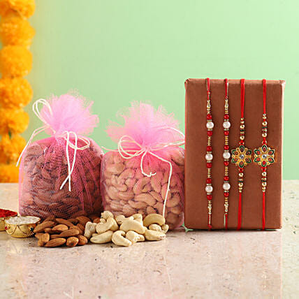 rakhi with dry fruit set for brother:Same Day Rakhi Delivery in India