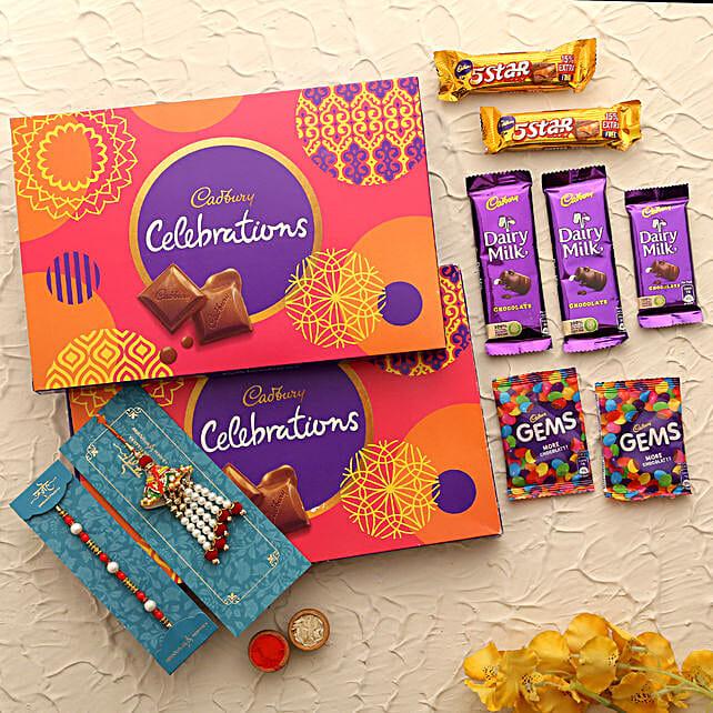 online lumba rakhi with chocolate for bro