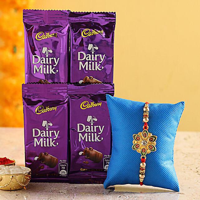 meenakari rakhi with chocolate for raksha bandhan:Rakhi Gifts to Thane