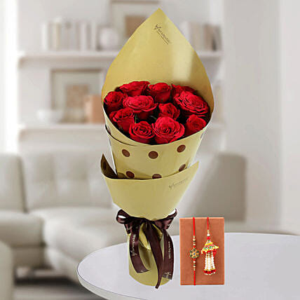 Online Enticing Red Roses & Bhaiya Bhabhi Rakhi