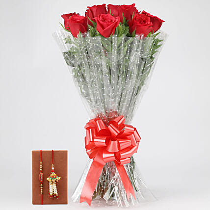 Online Lovely Red Roses Bouquet & Bhaiya Bhabhi Rakhi