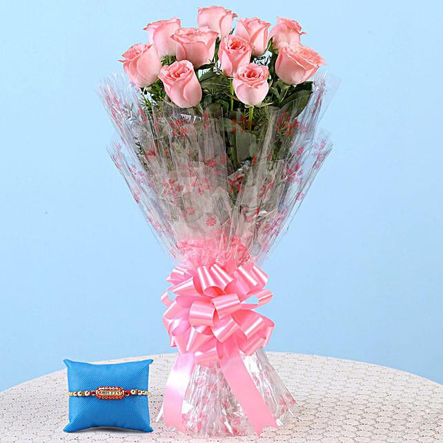 Online Pink Roses Bouquet & Capsule Rakhi