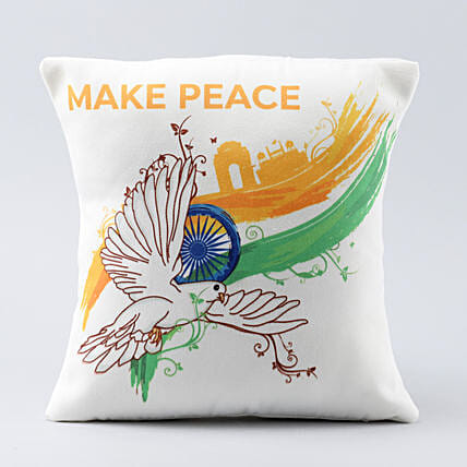 make peace printed cushion