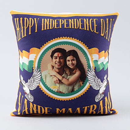 personalised vande maatram cushion:Independence Day Gifts