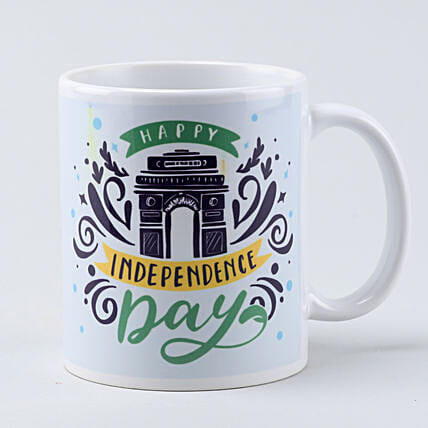 printed independence day white mug