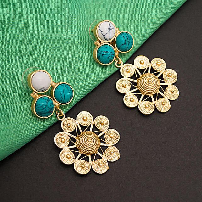 GT N Green Floral Earrings