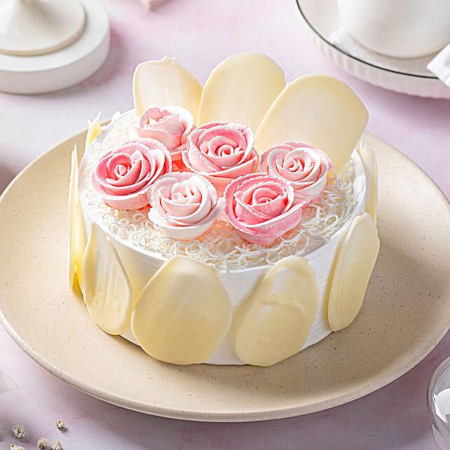 Rose Theme White Forest Cake:Rose Cake