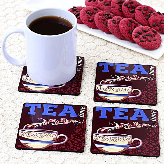 online tea time printed coaster