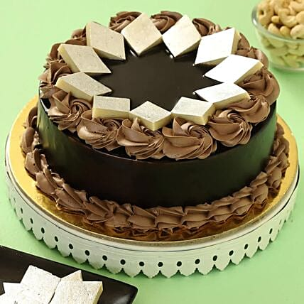 barfi topping chocolate cake:Dussehra Gift Ideas