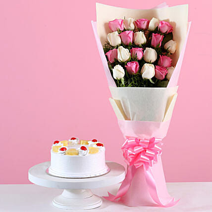21 Roses Bouquet & Pineapple Cake Combo