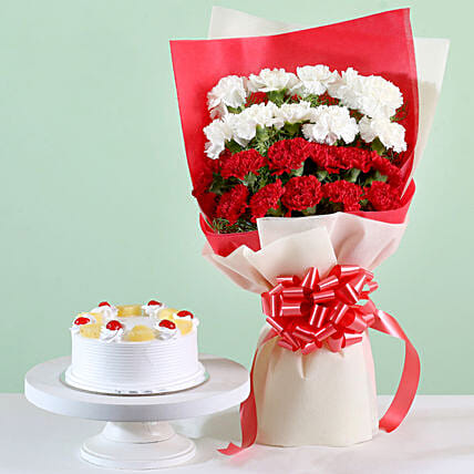 Red & White Carnations With Pineapple Cake