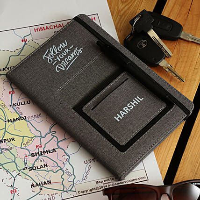 Personalised UV Print A5 Notebook- Grey