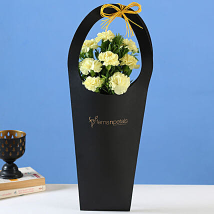 Yellow Carnations in Black FNP Sleeve Bag