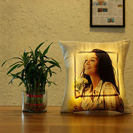 layer bamboo with led cushion online:Plants N Personalised Gifts