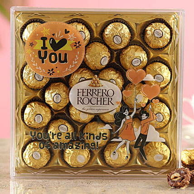 Love You Printed Ferrero Rocher Box:Ferrero Chocolate