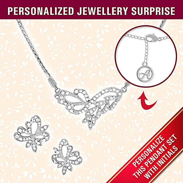 butterfly design pendant set