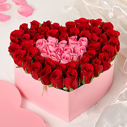 pink n red roses heart box arrangement