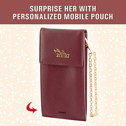 personalised burgundy small pouch online:Customised Handbags and Wallets
