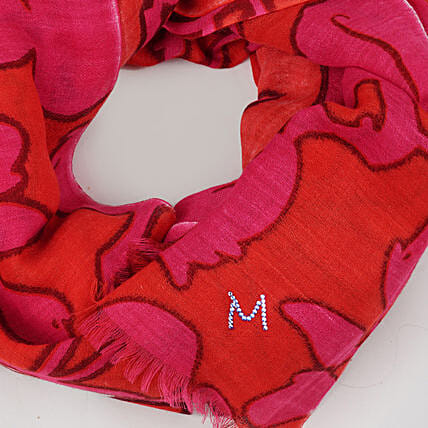 Online Red and White Customised Scarf:Scarves And Stoles