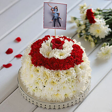 Online Customised Daisy & Rose Floral Cake