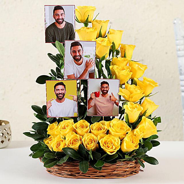 Online Customised Yellow Roses Basket Arrangement