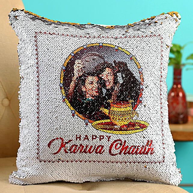 karwa chauth printed cushion online