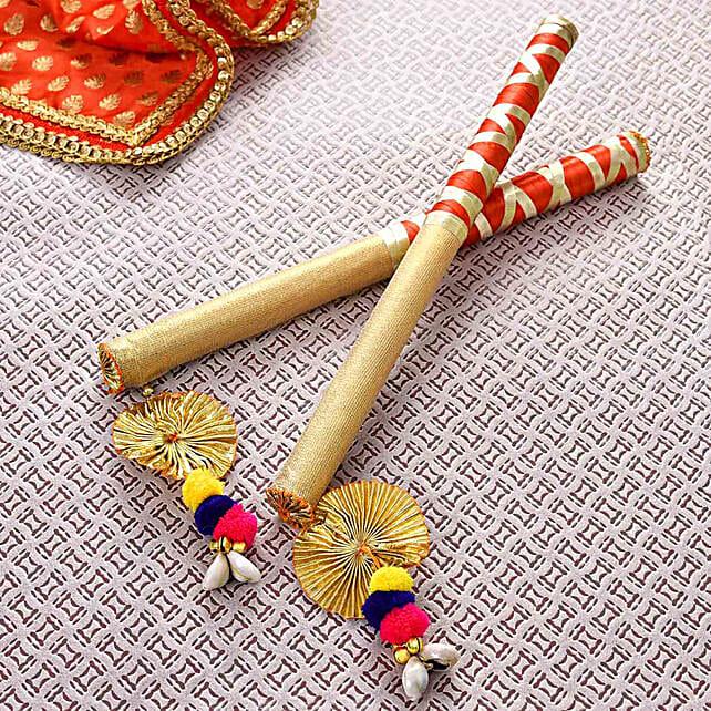 Designer Red & Gold Dandiya Sticks:Navratri Gifts