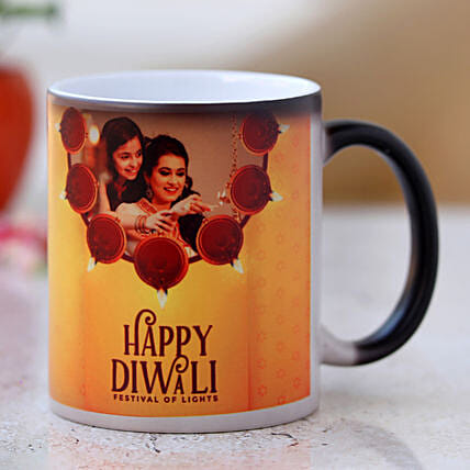 Happy Diwali Personalised Magic Mug- Hand Delivery:Diwali Gift Ideas For Family