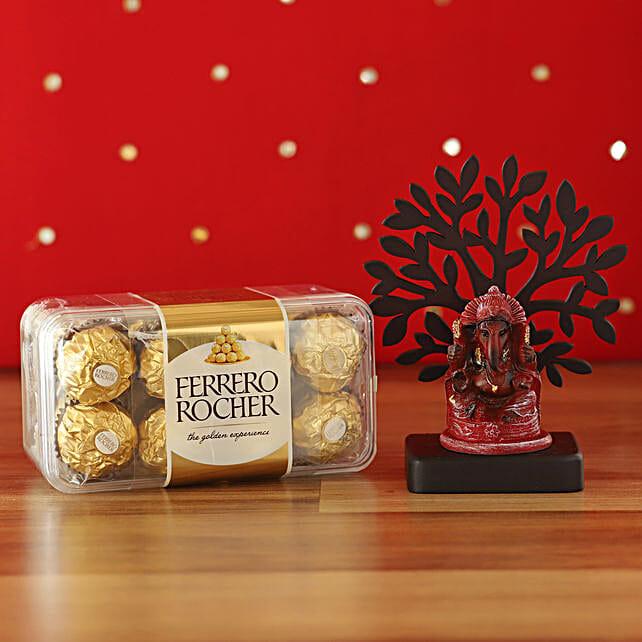 Deep Red Ganesha Idol & Ferrero Rocher Combo:Diwali Gifts for Boyfriend