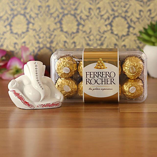 Ferrero Rocher & White Resting Ganesha Idol Combo:Buy Best Diwali Gift For Girlfriend