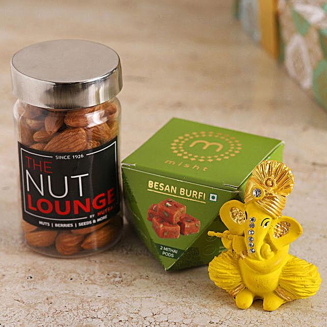 Flute Ganesha Idol With Almonds & Besan Burfi online