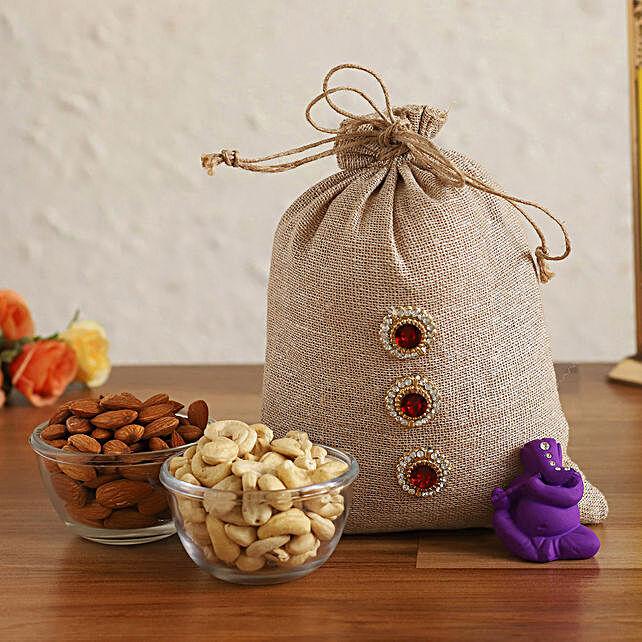 Online Purple Ganesha Idol & Dry Fruits In Jute Potli