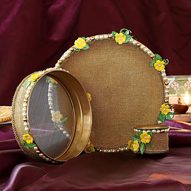 Yellow Jute Flowers Karwa Chauth Thali Set