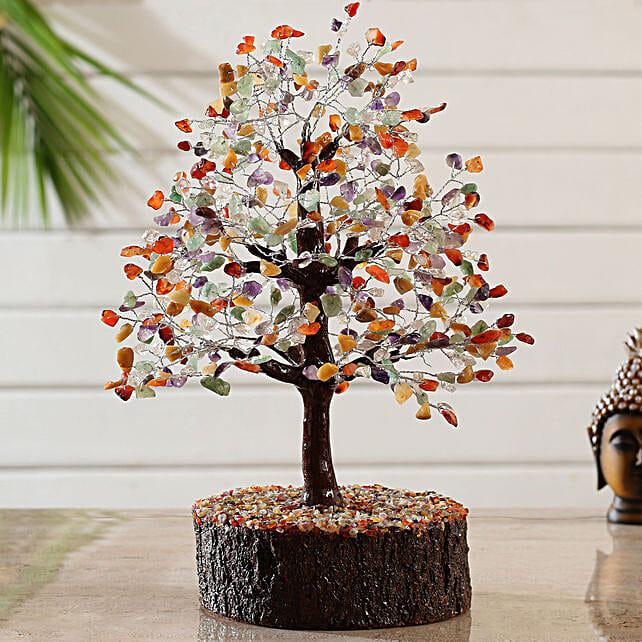 Majestic 5 Stones Multicoloured Wish Tree:Send Valentines Day Wish Trees