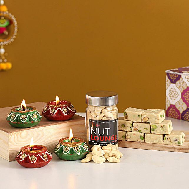Diwali Diyas With Mewa Bites & Cashews