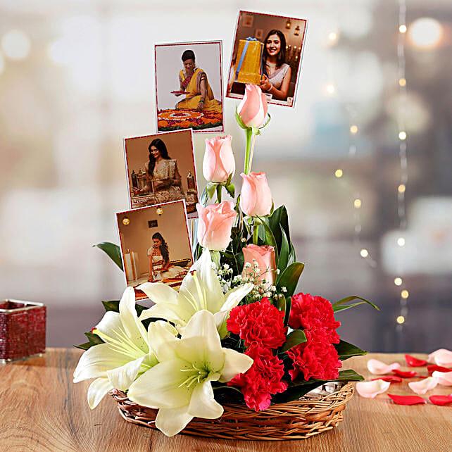 Premium Mixed Flowers Basket Arrangement