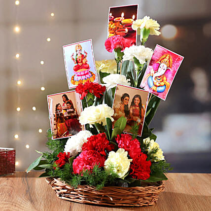 Carnations Arrangement In Basket With Photos